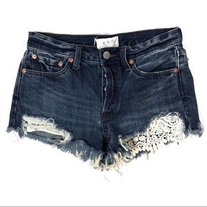 Free People Sz 26 Cutoff Denim Shorts Lace Detail